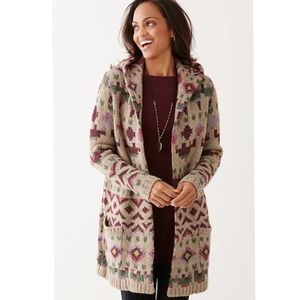 J. Jill Aztec Lenox Wool Open Long Hooded Sweater
